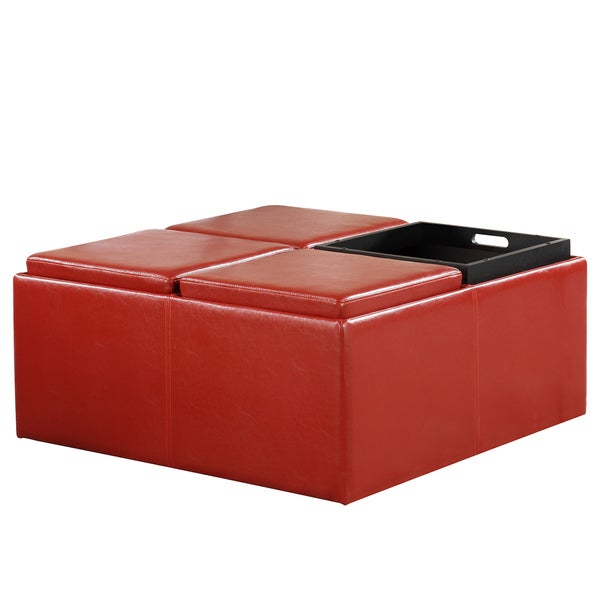 TRIBECCA HOME Charlotte Red Faux Leather Storage Ottoman