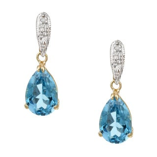 Kabella 14k Yellow Gold Blue Topaz and 1/10ct TDW Diamond Earrings