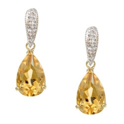 Kabella 14k Yellow Gold Citrine and 1/10ct TDW Diamond Earrings