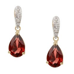 Kabella 14k Yellow Gold Garnet and 1/10ct TDW Diamond Earrings