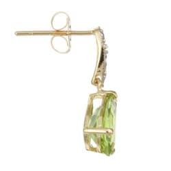 Kabella 14k Yellow Gold Peridot and 1/10ct TDW Diamond Earrings - Thumbnail 1