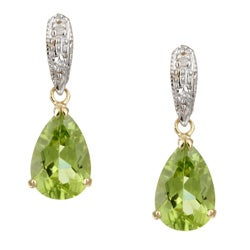 Kabella 14k Yellow Gold Peridot and 1/10ct TDW Diamond Earrings - Thumbnail 0