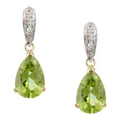 Kabella 14k Yellow Gold Peridot and 1/10ct TDW Diamond Earrings|https://ak1.ostkcdn.com/images/products/4342656/Kabella-14k-Yellow-Gold-Peridot-and-1-10ct-TDW-Diamond-Earrings-P12315358.jpg?impolicy=medium