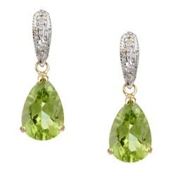Kabella 14k Yellow Gold Peridot and 1/10ct TDW Diamond Earrings