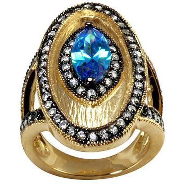 NEXTE Jewelry Cobalt Blue Cubic Zirconia Vintage-inspired Ring
