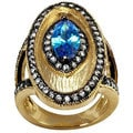 NEXTE Jewelry Cobalt Blue Cubic Zirconia Vintage-inspired Ring