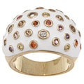 Nexte Brass White Enamel Multi-color Cubic Zirconia Ring
