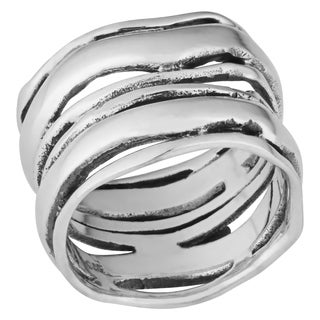 Handmade Sterling Silver 'Waves' Wide Ring (Thailand)
