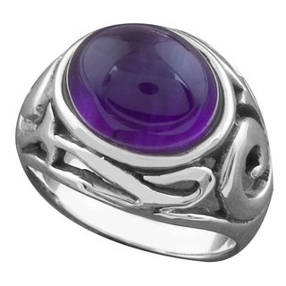 Handmade Sterling Silver Amethyst Ornamented Ring (Thailand)
