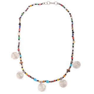 Handmade Beaded Youth Necklace with Silverplated Copper Accents (Kenya)