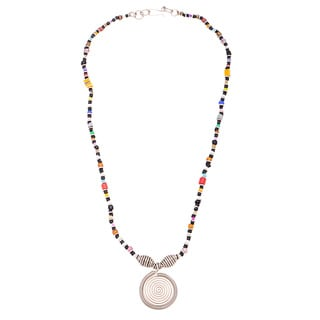 Handmade Silverplated Copper Multicolor Beaded Elegance Necklace (Kenya)