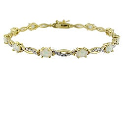 Glitzy Rocks 18k Gold Over Silver 2 5/8 carat TGW Lab-created Opal And Diamond Accent Bracelet