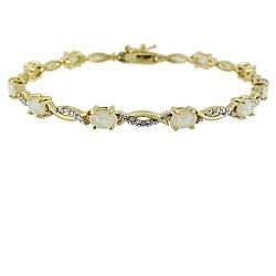 Glitzy Rocks 18k Gold Over Silver 2 5/8 carat TGW Lab-created Opal And Diamond Accent Bracelet