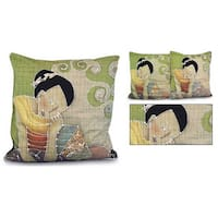 Handmade Set of Two Cotton 'Feline Life' Cushion Covers (Thailand)
