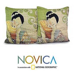 Set of Two Cotton 'Feline Life' Cushion Covers (Thailand)