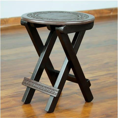 Handmade Garland Mahogany and Leather Folding Table (Peru)