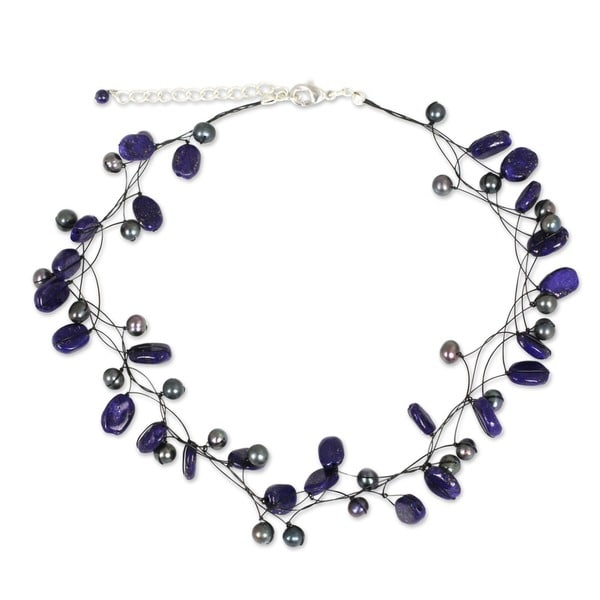 Ethereal Blue Lapis Lazuli Gemstones and Pearls Perfect Special Occasion or Bridesmaid Womens Beaded Choker Necklace (Thailand)