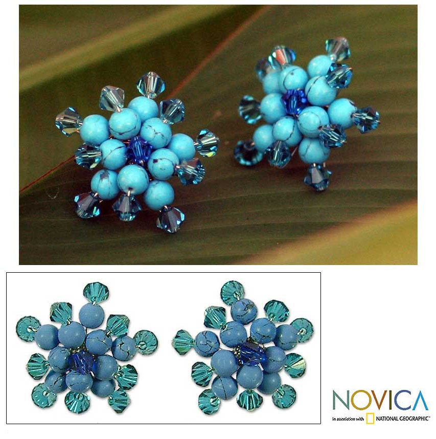 Silver 'Blue Stars' Reconstituted Turquoise Earrings (Thailand)