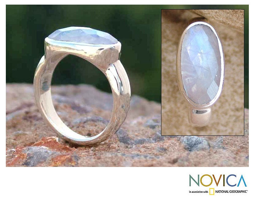 Misty Checkerboard Faceted Oval Moonstone Set in Highly Polished 925 Sterling Silver Sophisticated Modern Womens Ring (India)