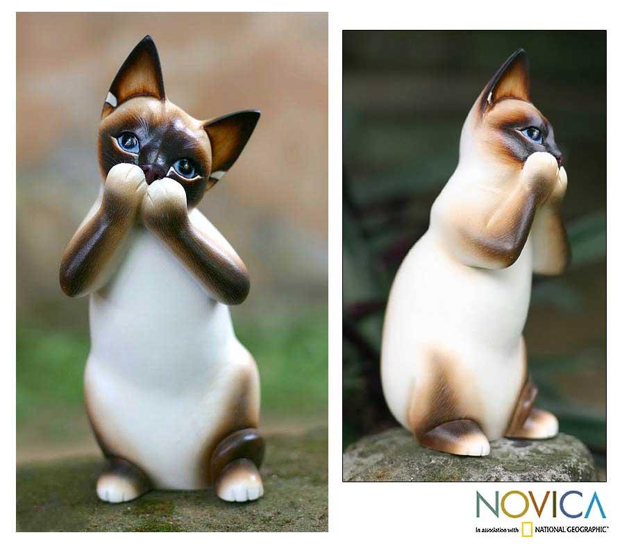 'Speak No Evil Siamese Cat' Wood Statuette (Indonesia)