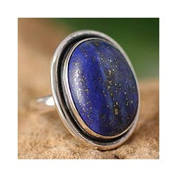 Universe Oval Cabochon Polished Lapis Lazuli Gemstone Set in 925 Sterling Silver Elegant Modern Womens Statement Ring (India)