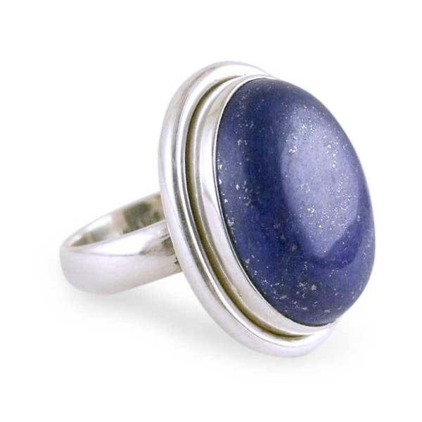Universe Oval Cabochon Polished Lapis Lazuli Gemstone Set in 925 Sterling Silver Elegant Modern Womens Statement Ring (India)