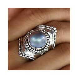 Faithful in Blue Elongated Bohemian Design Irridescent Mabe Pearl Bezel Set in 925 Sterling Silver Cocktail Ring (Indonesia)
