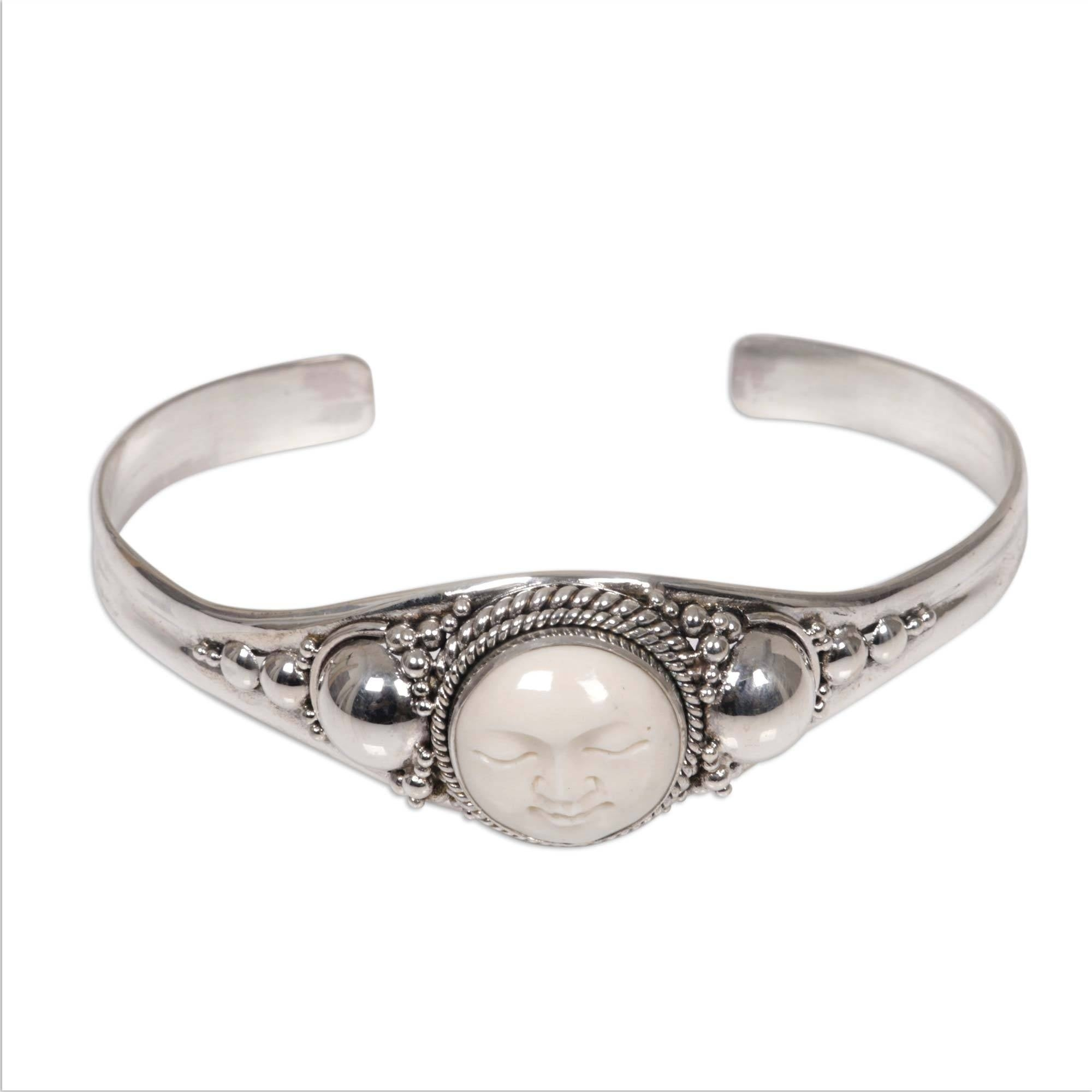 Shop Serene Smiling Face Of Moon Goddess In Hand Carved Natural Color Bone Mounted On 925 Sterling Silver Womens Cuff Indonesia Overstock 4345906