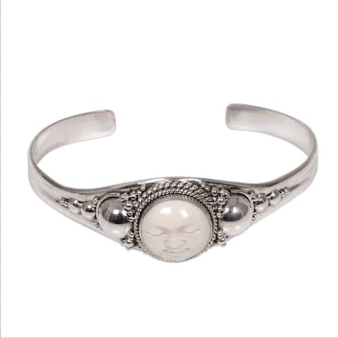 Serene Smiling Face of Moon Goddess in Hand Carved Natural Color Bone Mounted on 925 Sterling Silver Womens Cuff (Indonesia)