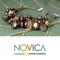 'Leaf Doctrine' Pearl and Citrine Cluster Bracelet (Thailand)