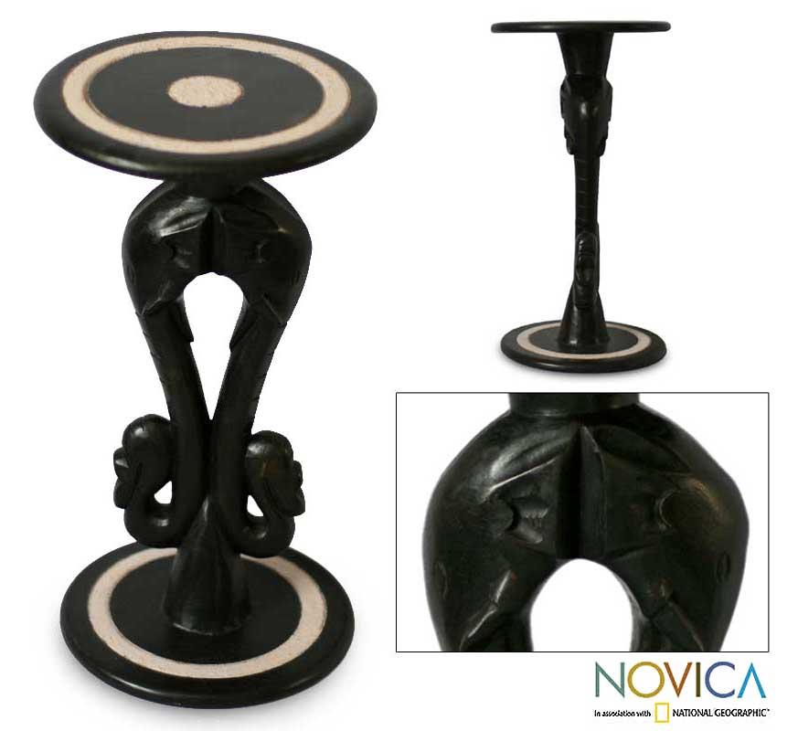 Handmade Black 'Elephant Twins' Wood End Table (Ghana)