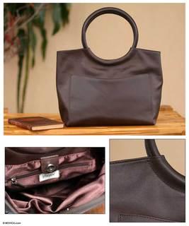 Out On The Town Artisan Designer Handmade Brown Women's Fashion Clothing Accessory Purse Clutch Satchel Leather Handbag (Peru)