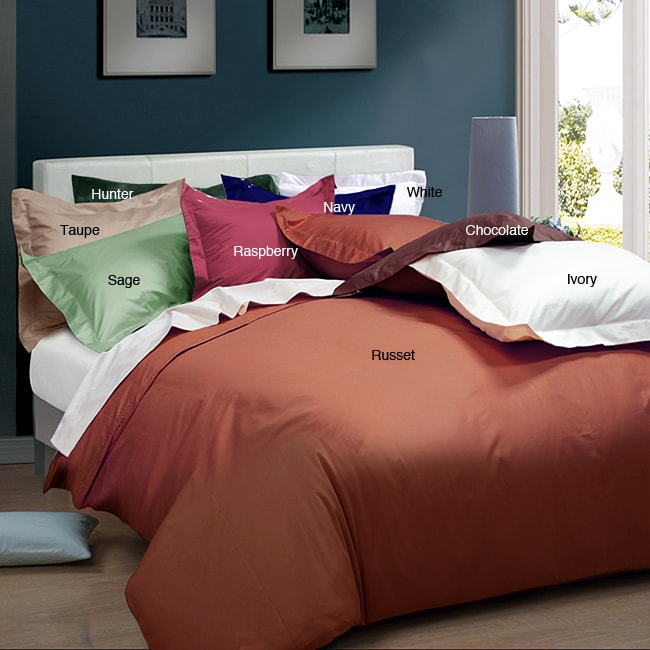 Solid 205 Thread Count 3-piece Duvet Cover Set