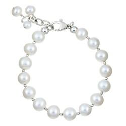 Lola's Jewelry Sterling Silver White Pearl Fringe Bracelet (9 mm)