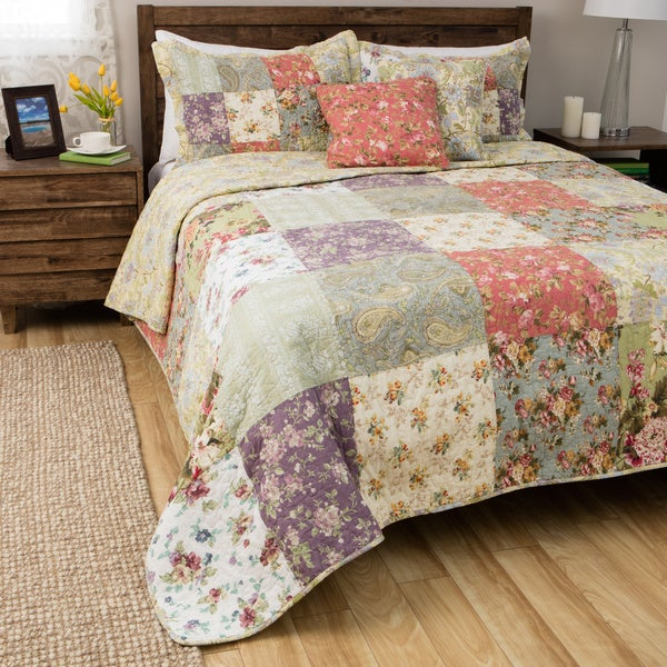 Greenland Home Fashions Blooming Prairie 5-piece Cotton Quilt Set ... : overstock quilts king - Adamdwight.com