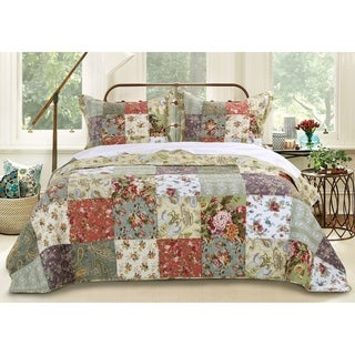 Link to Greenland Home Fashions Blooming Prairie 3-piece Bedspread Set Similar Items in Duvet Covers & Sets