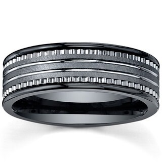 Men's Tungsten Carbide and Black Ceramic Comfort-fit Band (7 mm)