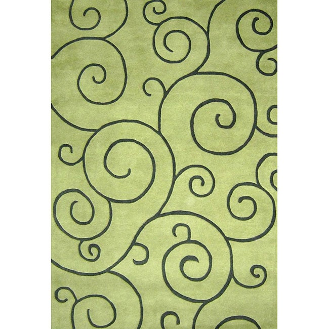 Alliyah Handmade Lime Green New Zealand Blend Wool Rug (5' x 8')
