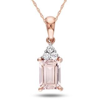 Miadora 10k Pink Gold Morganite and Diamond Accent Necklace