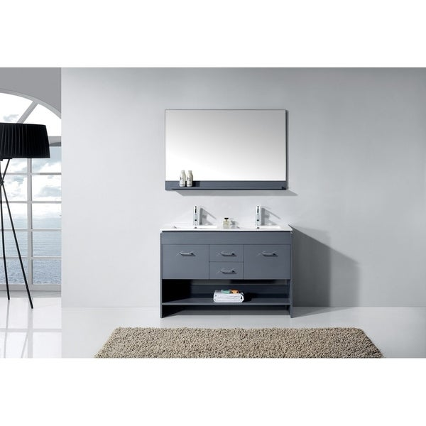 Virtu USA Gloria 48 Inch Ceramic Double Sink Bathroom Vanity Set With  Faucets And Top