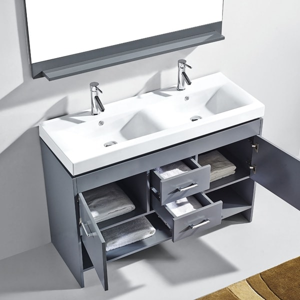 Virtu Usa Gloria 48 Inch Ceramic Double Sink Bathroom Vanity Set With Faucets And Top Option Free Shipping Today 12319914