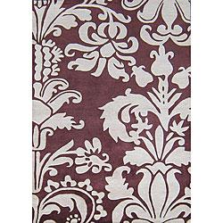 Alliyah Handmade Burgundy New Zealand Blend Wool Rug (5' x 8')