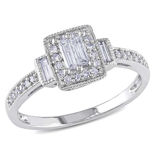 Miadora 10k White Gold 1/3ct TDW Baguette and Round-Cut Diamond Halo Engagement Ring