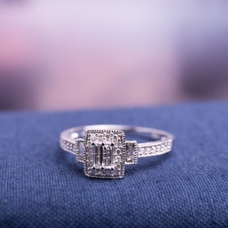 10k White Gold 1/3ct TDW Baguette and Round-Cut Diamond Halo Engagement Ring by Miadora