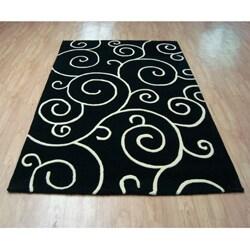 Alliyah Handmade Black New Zealand Blend Wool Rug  (5' x 8') - Thumbnail 1