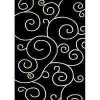 Alliyah Handmade Black New Zealand Blend Wool Rug  (5' x 8') - 5' x 8'