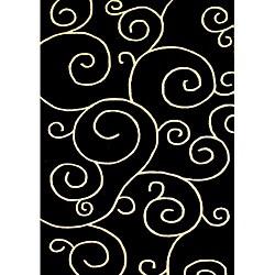 Alliyah Handmade Black New Zealand Blend Wool Rug (5' x 8')