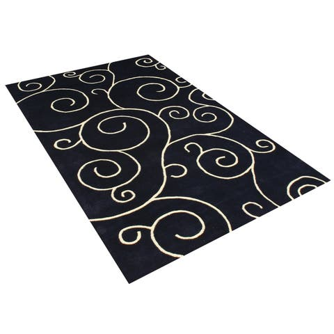 Alliyah Handmade Black New Zealand Blend Wool Rug (5' x 8') - 5' x 8'