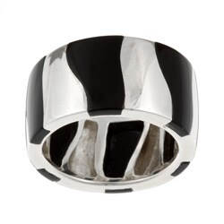 Kabella Sterling Silver Black Agate Striped Band