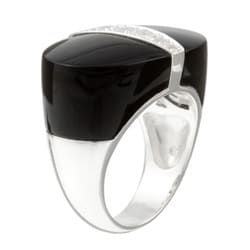 Kabella Sterling Silver Black Agate and White Topaz Ring